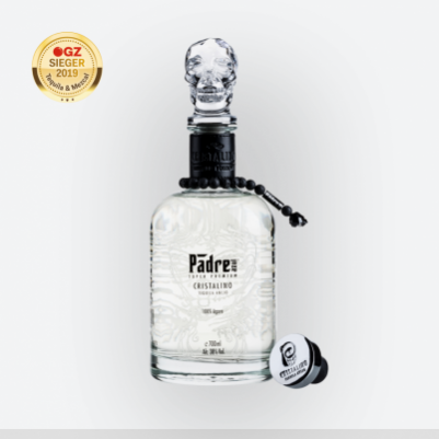 Glass bottle Padre Azul High-End Tequila Cristalino-Crystal clear with silver reflections