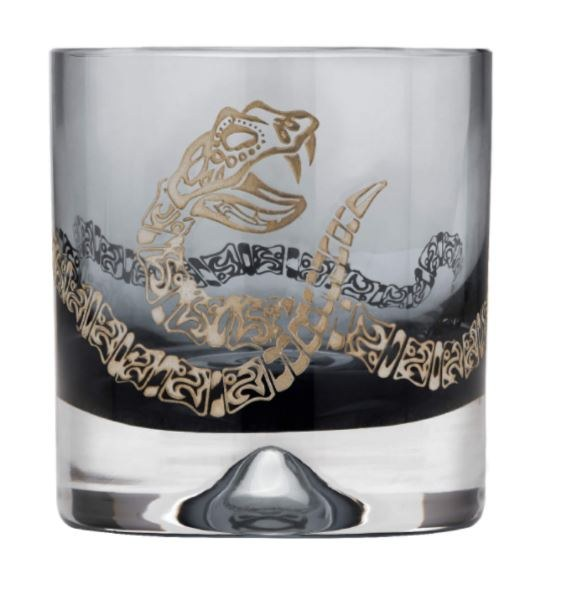 Glass tumblers with a rattle snake